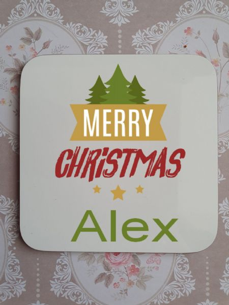 Trees Merry Christmas Personalised Coaster